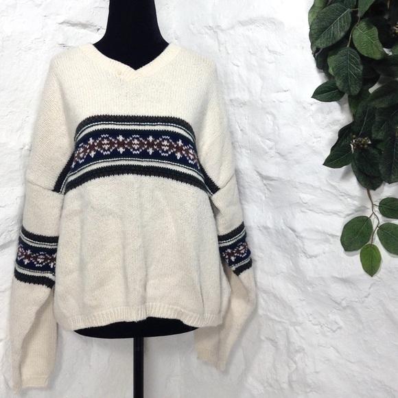 5651e5a088a1 Eddie Bauer Sweaters | Vintage Cream Fair Isle V Neck Sweater | Poshmark